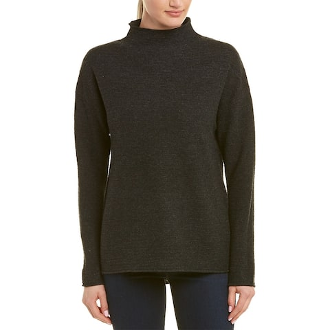 In Cashmere Mock Collar Cashmere Sweater - HEATHER CHARCOAL