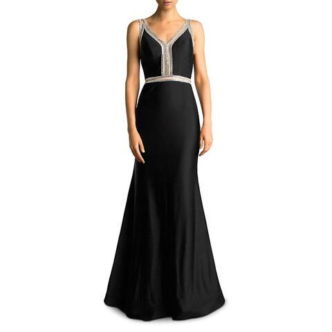 Basix Black Label Womens Evening Dress Embellished Trumpet