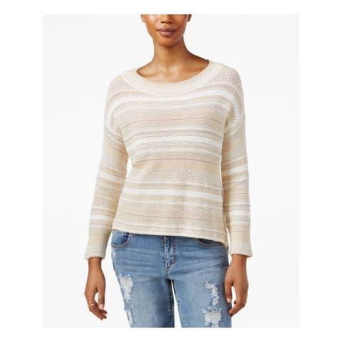 RACHEL ROY Womens Beige 3/4 Sleeve Jewel Neck Sweater Size M