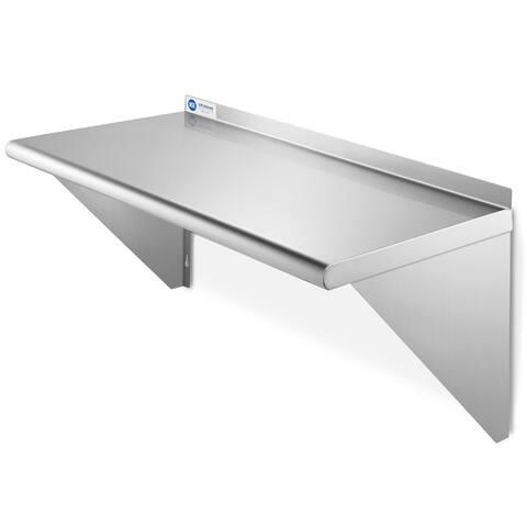 """GRIDMANN NSF 16 Gauge Stainless Steel Kitchen Wall Mount Shelf - 12"""" x 24"""""""