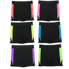 Women 6 Pack Seamless Color Stripes Solid Color Sports Yoga Short Leggings Pants