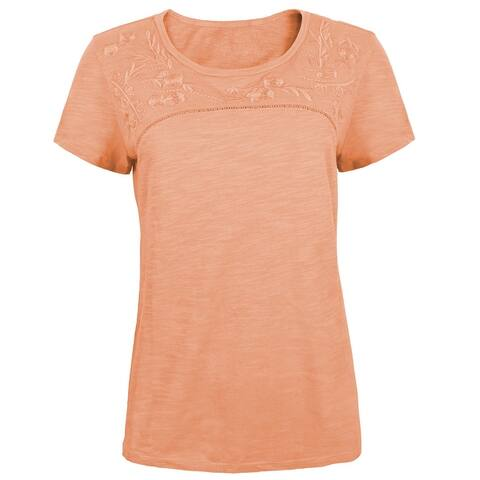 Victory Outfitters Ladies' Floral Detail Slub Knit Cotton Blend Scoop Neck T-Shirt