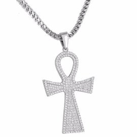Mens Custom Made Ankh Pendant Iced Out Simulated Diamonds 18K Rhodium Finish Free Stainless Steel Necklace