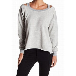 Sweet Romeo NEW Gray Womens Size Large L Cold Shoulder Pullover Sweater
