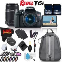 Canon EOS Rebel T6i w/ 18-55mm Lens + Canon EF-S 55-250mm f/4-5.6 IS STM Lens Bundle