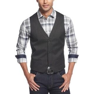 Alfani Slim Fit Vest Black Small S Pindot Red Label Button Front