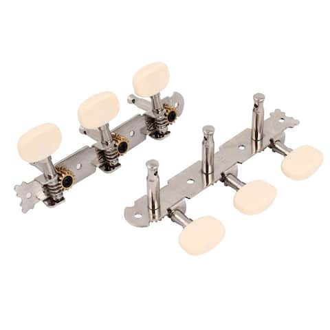 Unique Bargains 2pcs Classical Guitar Tuner Tuning Pegs Keys Machine Heads Silver Tone Beige