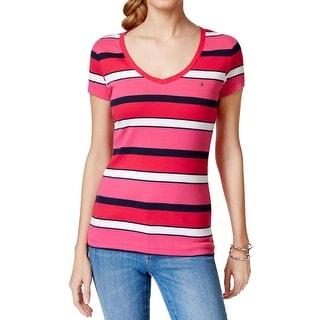 Tommy Hilfiger Womens T-Shirt V-Neck Striped