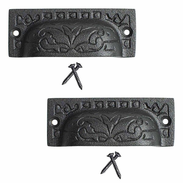 2 Cabinet or Drawer Bin Pull Black Iron Cup 3 1/2 x 1 1/4 H | Renovator's Supply
