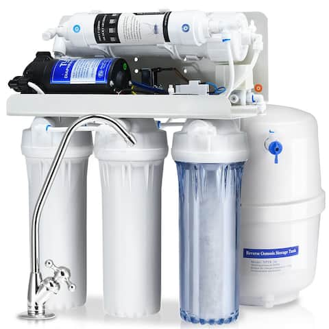 Costway 5-Stage Ultra Safe Reverse Osmosis Drinking Water Filter System Purifier White
