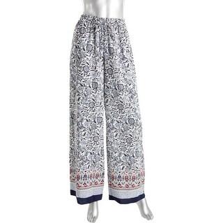 Aqua Womens Printed Contrast Trim Wide Leg Pants