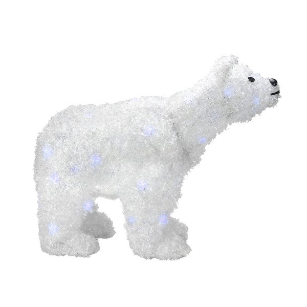 """24"""" Battery Operated LED Lighted Tinsel Polar Bear Christmas Decoration - WHITE"""