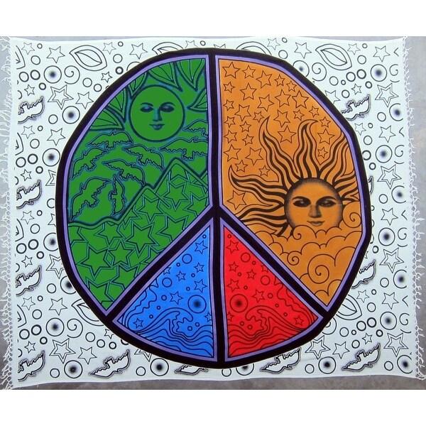 Handmade 100% Heavy Cotton Celestial Mandala Sun Moon Star Peace Sign Tapestry Bedspread Throw Beach Sheet Picnic Sheet 84x96