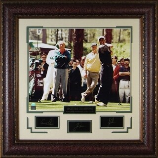 Arnold Palmer unsigned Engraved Signature Series 30x32 Photo Leather Framed w/Woods & Nicklaus
