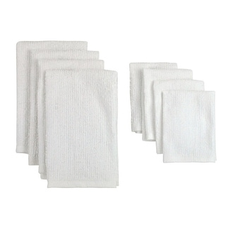 Pack of 8 Solid White Dish Towel and Wash Cloth Kitchen Accessory Set - Terry Cloth