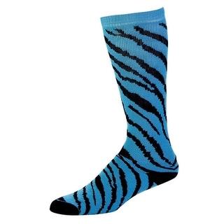Pizzazz Girl Size 8-Women Size 12 Turquoise Zebra Knee Hi Socks Cheer