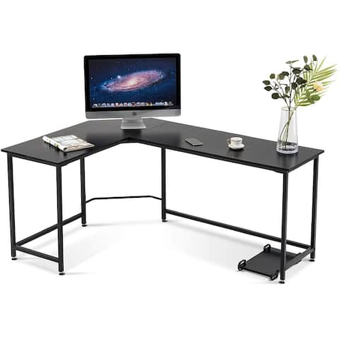 L Shaped Desk Corner Desk Computer Desk for Home Office Brown