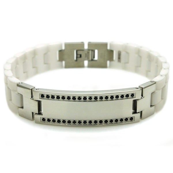 Stainless Steel & Ceramic Black CZ ID Link Bracelet - 8 inches