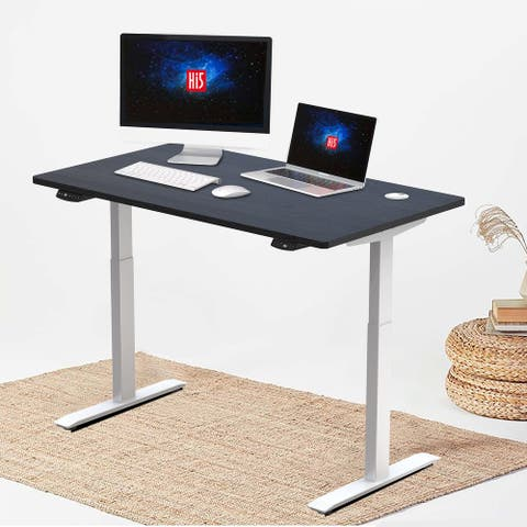 "Hi5 Electric Height Adjustable Standing Desks with Rectangular Tabletop (47.20""x 24"") with with 4 Color Options"