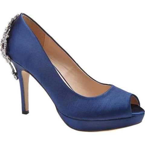 Pink Paradox London Women's Priscilla Peep Toe Pump Navy Satin