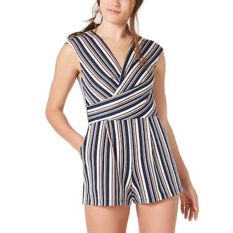 Fishbowl Women's Romper Blue Size XL Stripe Print Surplice Pockets