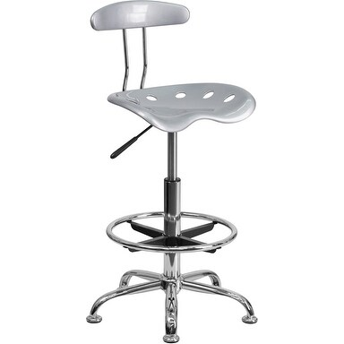 Brittany Silver & Chrome Professional Drafting Multipurpose Stool w/Tractor Seat