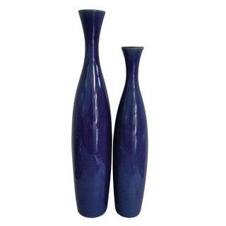 Howard Elliott Tall (Set Of 2) Cobalt Blue Glaze Ceramic Vases Set of 2 Ceramic Vases