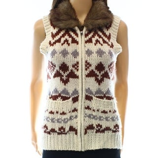frenchi NEW Beige Size Small S Junior Vest Faux-Fur Knit Sweater