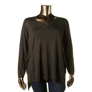Eileen Fisher Womens Plus Woman Merino Wool Hi-Low Tunic Sweater - 1X