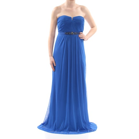 ADRIANNA PAPELL Womens Blue Embellished Ruched Strapless Full-Length Formal Dress Plus Size: 20