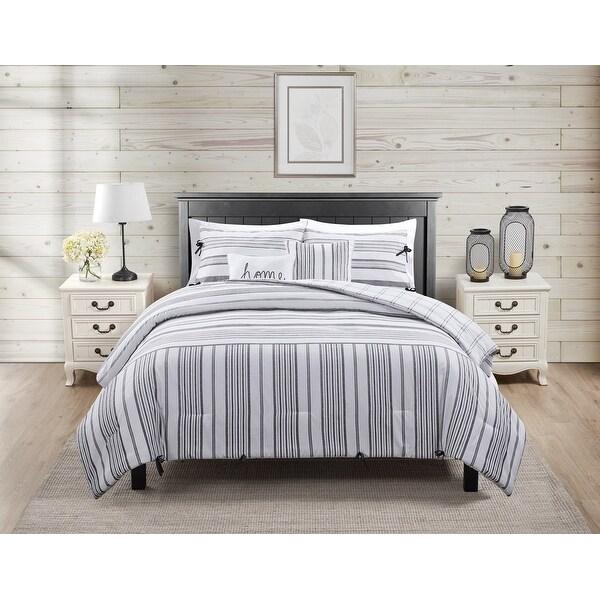 Farmhouse Reversible Stripe Comforter Set. Opens flyout.