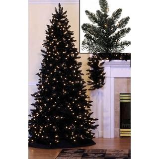 7.5u0027 Pre Lit Slim Black Ashley Spruce Artificial Christmas Tree   Clear  Lights