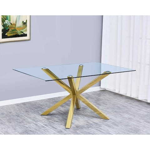 Best Quality Furniture Contemporary Gold Metal and Glass Dining Table