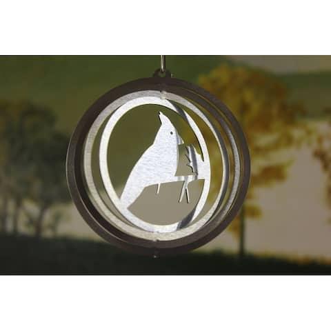 "4"" Silver Zinc Round Mini Cardinal Wind Spinner"