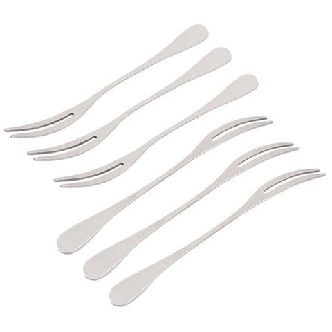 Home Restaurant Stainless Steel Apple Watermelon Fruit Fork Silver Tone 6 Pcs