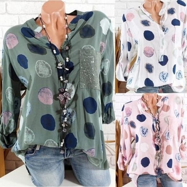 Women V-neck Polka Dot Loose Shirt Blouse Top Plus Size