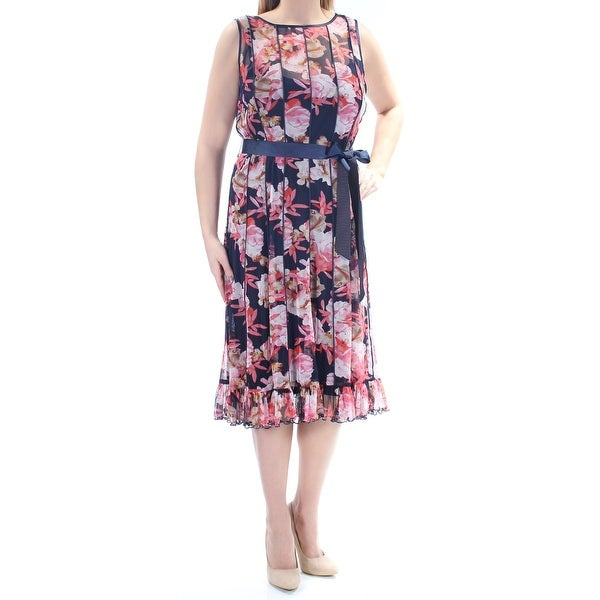 Shop Womens Navy Pink Floral Sleeveless Below The Knee Dress Size  14 -  Free Shipping On Orders Over  45 - Overstock.com - 21265696 edc415533
