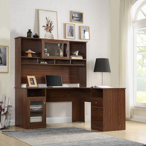 TiramisuBest L-Shaped Desk with Hutch and Glass Doors for Home Office