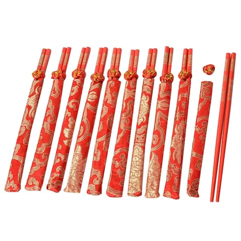 Wedding Wooden Sinitic Pattern Printed Chopsticks Chinese Red Set 10 Pairs