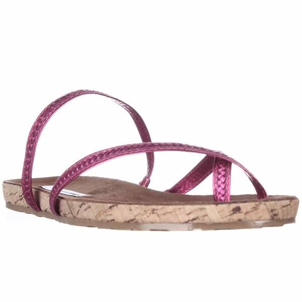 Diane von Furstenberg Adelia Braided Strap Flat Sandals, Fuchsia Metallic