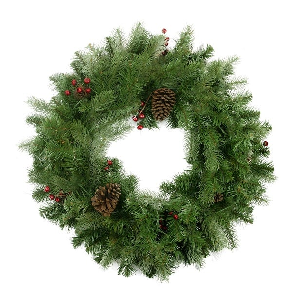 """24"""" Noble Fir with Red Berries and Pine Cones Artificial Christmas Wreath - Unlit - green"""