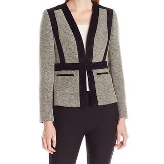 Kasper NEW Black Women's Size 16 Faux Suede Trim Tweed Contrast Jacket