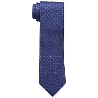 Calvin Klein Navy Blue Star Medallion Men's Neck Tie Silk Accessory