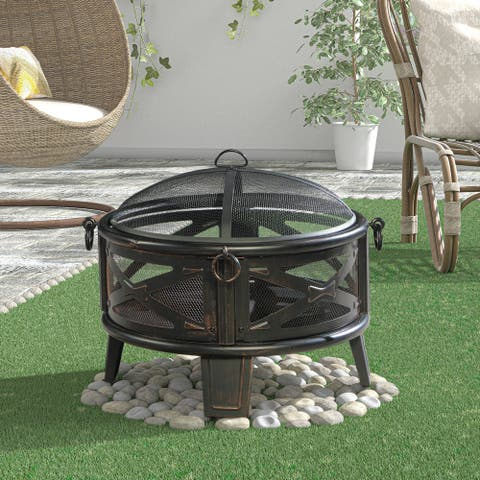 """26"""" Round Steel Wood Burning Fire Pit"""