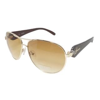 Guess GUF 213 GLD-34A Women's Gold/Brown Frame Aviator Sunglasses - Gold