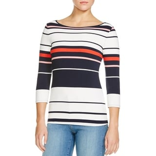 Three Dots Womens Pullover Top Striped Textured