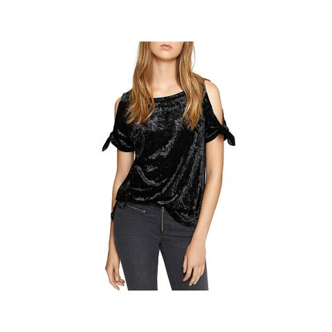Sanctuary Womens Lou Lou T-Shirt Crushed Velvet Cold Shoulder
