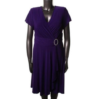 R&M Richards Womens Plus Matte Jersey Short Sleeves Cocktail Dress - 14W