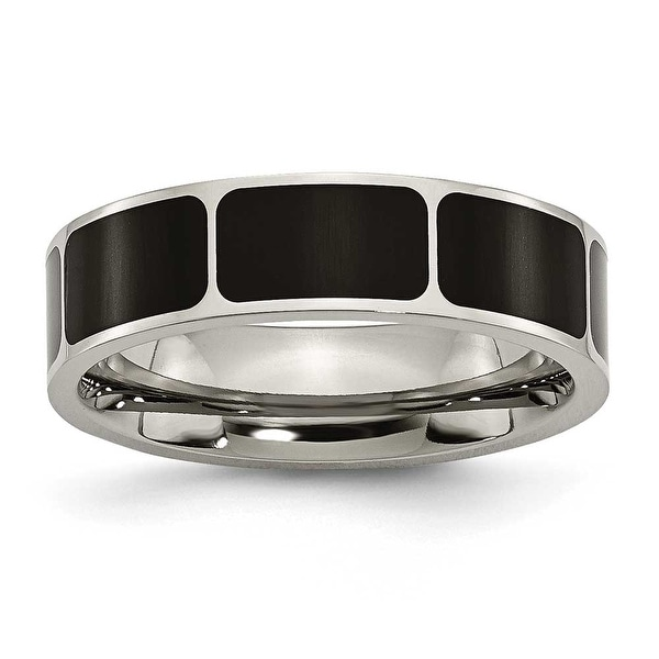 Chisel Black Enamel Flat Polished Titanium Ring (6.0 mm)