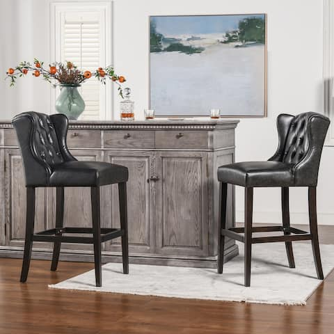 Copper Grove Gordon Wingback Leather Tufted Counter Height Bar Stool